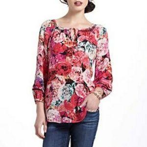 Vanessa Virginia digital print rose blouse sz M
